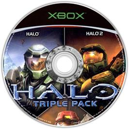 Artwork on the CD for Halo Triple Pack on the Microsoft Xbox.