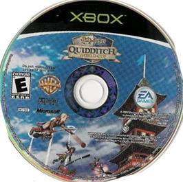 Artwork on the CD for Harry Potter: Quidditch World Cup on the Microsoft Xbox.