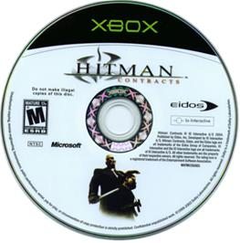 Artwork on the CD for Hitman: Contracts on the Microsoft Xbox.