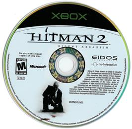 Artwork on the CD for Hitman 2: Silent Assassin on the Microsoft Xbox.