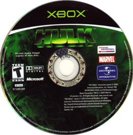 Artwork on the CD for Hulk on the Microsoft Xbox.