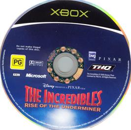 Artwork on the CD for Incredibles: Rise of the Underminer on the Microsoft Xbox.