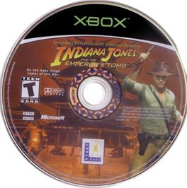 Artwork on the CD for Indiana Jones and the Emperor's Tomb on the Microsoft Xbox.