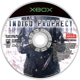 Artwork on the CD for Indigo Prophecy on the Microsoft Xbox.