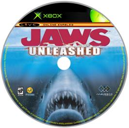 Artwork on the CD for Jaws: Unleashed on the Microsoft Xbox.