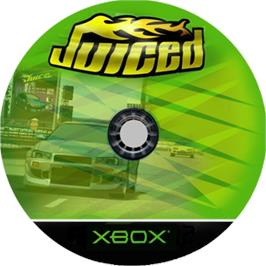Artwork on the CD for Juiced on the Microsoft Xbox.