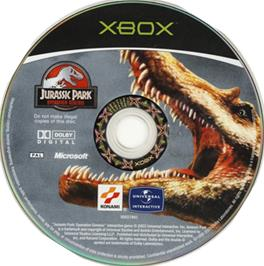 Artwork on the CD for Jurassic Park: Operation Genesis on the Microsoft Xbox.