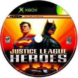 Artwork on the CD for Justice League Heroes on the Microsoft Xbox.