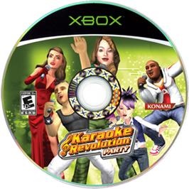 Artwork on the CD for Karaoke Revolution Party on the Microsoft Xbox.