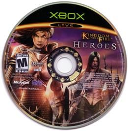 Artwork on the CD for Kingdom Under Fire: Heroes on the Microsoft Xbox.