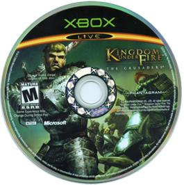 Artwork on the CD for Kingdom Under Fire: The Crusaders on the Microsoft Xbox.