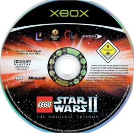 Artwork on the CD for LEGO Star Wars 2: The Original Trilogy on the Microsoft Xbox.