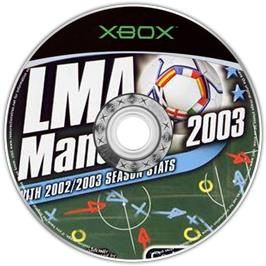 Artwork on the CD for LMA Manager 2003 on the Microsoft Xbox.