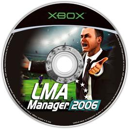 Artwork on the CD for LMA Manager 2006 on the Microsoft Xbox.
