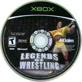 Artwork on the CD for Legends of Wrestling on the Microsoft Xbox.
