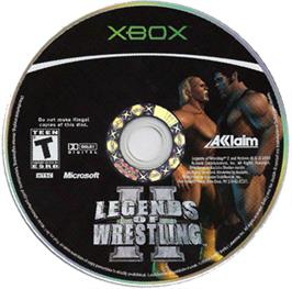 Artwork on the CD for Legends of Wrestling 2 on the Microsoft Xbox.