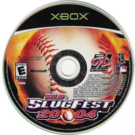 Artwork on the CD for MLB SlugFest 20-04 on the Microsoft Xbox.