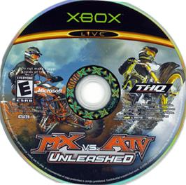 Artwork on the CD for MX vs. ATV Unleashed on the Microsoft Xbox.