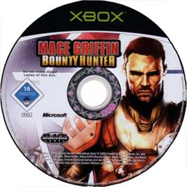 Artwork on the CD for Mace Griffin: Bounty Hunter on the Microsoft Xbox.