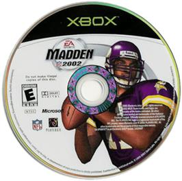 Artwork on the CD for Madden NFL 2002 on the Microsoft Xbox.