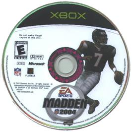 Artwork on the CD for Madden NFL 2004 on the Microsoft Xbox.