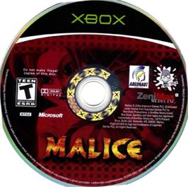 Artwork on the CD for Malice on the Microsoft Xbox.