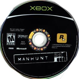 Artwork on the CD for Manhunt on the Microsoft Xbox.