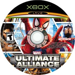 Artwork on the CD for Marvel Ultimate Alliance on the Microsoft Xbox.
