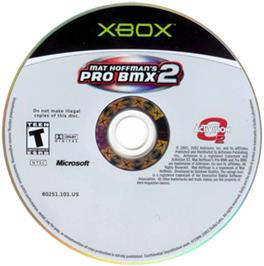Artwork on the CD for Mat Hoffman's Pro BMX 2 on the Microsoft Xbox.