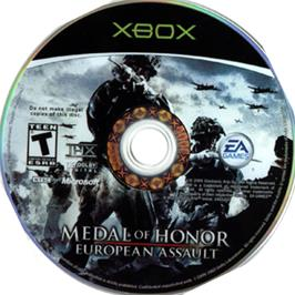 Artwork on the CD for Medal of Honor: European Assault on the Microsoft Xbox.