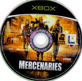 Artwork on the CD for Mercenaries: Playground of Destruction on the Microsoft Xbox.