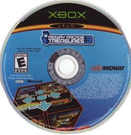 Artwork on the CD for Midway Arcade Treasures 3 on the Microsoft Xbox.