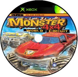 Artwork on the CD for Monster 4x4: World Circuit on the Microsoft Xbox.