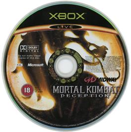 Artwork on the CD for Mortal Kombat: Deception on the Microsoft Xbox.