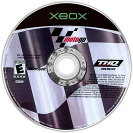 Artwork on the CD for MotoGP: Ultimate Racing Technology 3 on the Microsoft Xbox.