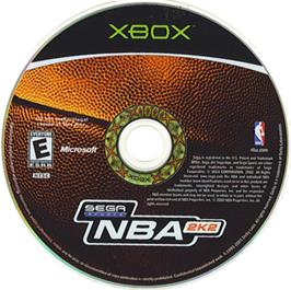 Artwork on the CD for NBA 2K2 on the Microsoft Xbox.