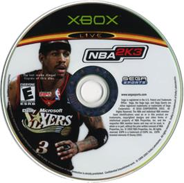 Artwork on the CD for NBA 2K3 on the Microsoft Xbox.