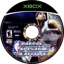 Artwork on the CD for NBA Inside Drive 2002 on the Microsoft Xbox.