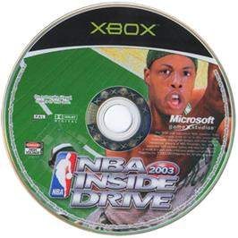 Artwork on the CD for NBA Inside Drive 2003 on the Microsoft Xbox.
