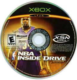 Artwork on the CD for NBA Inside Drive 2004 on the Microsoft Xbox.