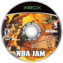Artwork on the CD for NBA Jam on the Microsoft Xbox.