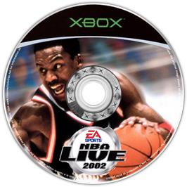 Artwork on the CD for NBA Live 2002 on the Microsoft Xbox.