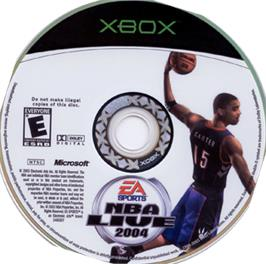 Artwork on the CD for NBA Live 2004 on the Microsoft Xbox.
