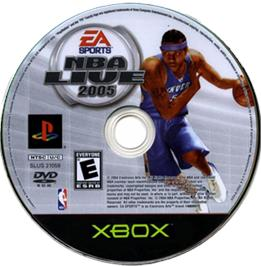 Artwork on the CD for NBA Live 2005 on the Microsoft Xbox.