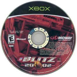 Artwork on the CD for NFL Blitz 20-02 on the Microsoft Xbox.