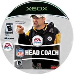 Artwork on the CD for NFL Head Coach on the Microsoft Xbox.