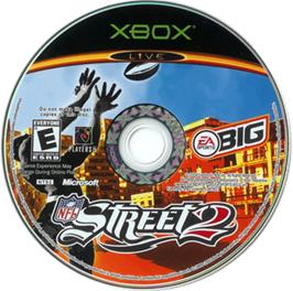 Artwork on the CD for NFL Street 2 on the Microsoft Xbox.