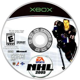 Artwork on the CD for NHL 2005 on the Microsoft Xbox.