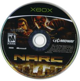 Artwork on the CD for Narc on the Microsoft Xbox.