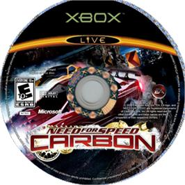 Artwork on the CD for Need for Speed: Carbon on the Microsoft Xbox.
